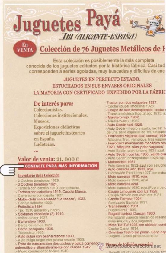 Juguetes antiguos de hojalata: GRAN COLECCION DE JUGUETES PAYA. SERIES NUMERADAS Y AGOTADAS - Foto 4 - 21265720