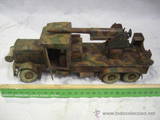 Juguetes antiguos de hojalata: Juguete Aleman. Made in Germany. Camión con cañón de la casa TIPPCO. - Foto 2 - 27460022