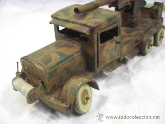 Juguetes antiguos de hojalata: Juguete Aleman. Made in Germany. Camión con cañón de la casa TIPPCO. - Foto 3 - 27460022