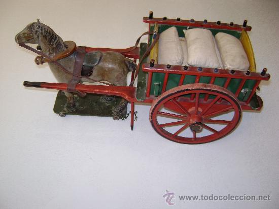 CARRO VALENCIANO CON CABALLO Y SACOS (Juguetes - Juguetes Antiguos de Hojalata Españoles)
