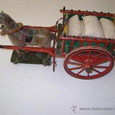 Juguetes antiguos de hojalata: CARRO VALENCIANO CON CABALLO Y SACOS. Lote 22476409