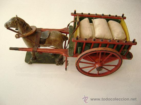Juguetes antiguos de hojalata: CARRO VALENCIANO CON CABALLO Y SACOS - Foto 2 - 22476409