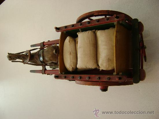 Juguetes antiguos de hojalata: CARRO VALENCIANO CON CABALLO Y SACOS - Foto 3 - 22476409