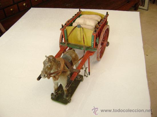 Juguetes antiguos de hojalata: CARRO VALENCIANO CON CABALLO Y SACOS - Foto 4 - 22476409