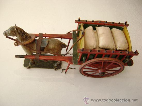 Juguetes antiguos de hojalata: CARRO VALENCIANO CON CABALLO Y SACOS - Foto 5 - 22476409
