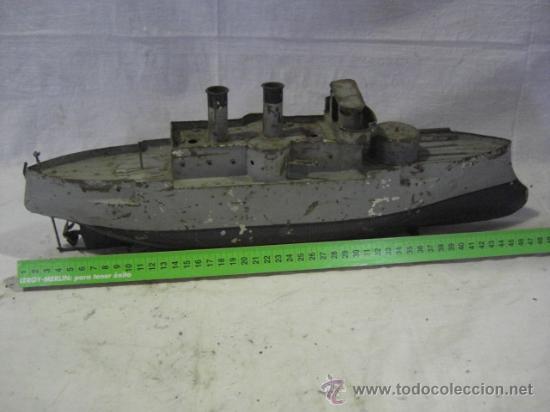 Juguetes antiguos de hojalata: Barco. Crucero. Acorazado. Juguete Alemán. Fabricado por BING. Hojalata. - Foto 2 - 26651974