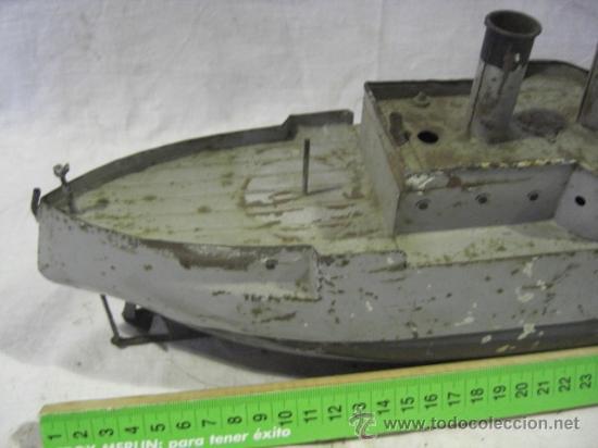 Juguetes antiguos de hojalata: Barco. Crucero. Acorazado. Juguete Alemán. Fabricado por BING. Hojalata. - Foto 3 - 26651974