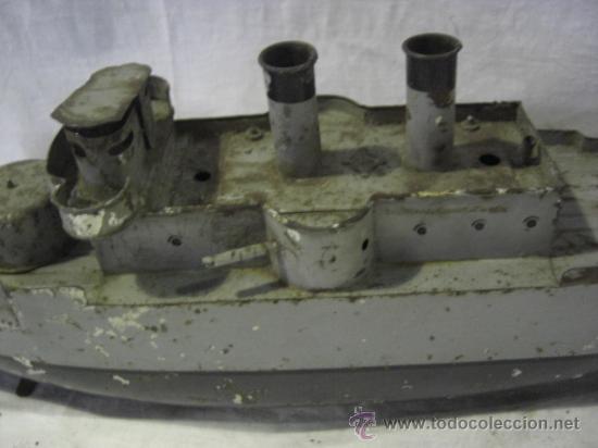 Juguetes antiguos de hojalata: Barco. Crucero. Acorazado. Juguete Alemán. Fabricado por BING. Hojalata. - Foto 7 - 26651974