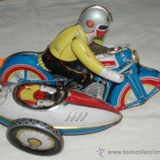 Juguetes antiguos de hojalata - moto con sidecar de hojalata - 118107603