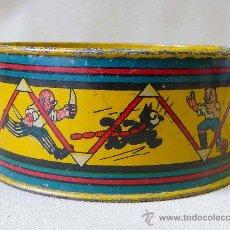 Juguetes antiguos de hojalata: TAMBOR DE HOJALATA, ANTIGUO, DECORADO CON DIBUJOS DE FELIX EL GATO, 1930S. Lote 24135634
