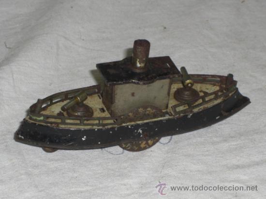 Juguetes antiguos de hojalata: Barco pequeño muy antiguo. Años 1900 / 1920. Posible Marklin ¿¿??. - Foto 6 - 26598333