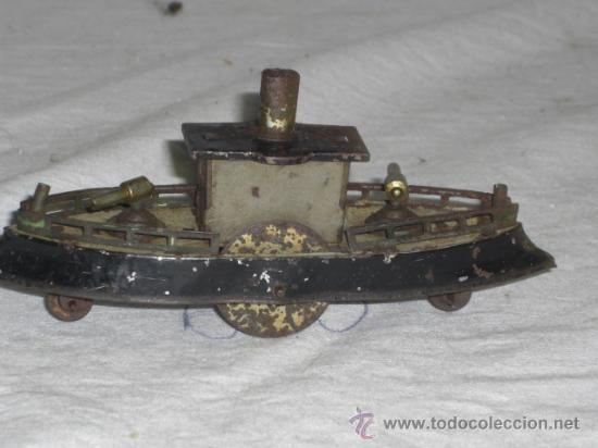 Juguetes antiguos de hojalata: Barco pequeño muy antiguo. Años 1900 / 1920. Posible Marklin ¿¿??. - Foto 7 - 26598333