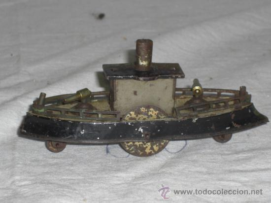Juguetes antiguos de hojalata: Barco pequeño muy antiguo. Años 1900 / 1920. Posible Marklin ¿¿??. - Foto 8 - 26598333