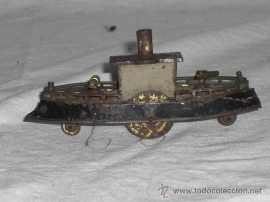 Juguetes antiguos de hojalata: Barco pequeño muy antiguo. Años 1900 / 1920. Posible Marklin ¿¿??. - Foto 9 - 26598333