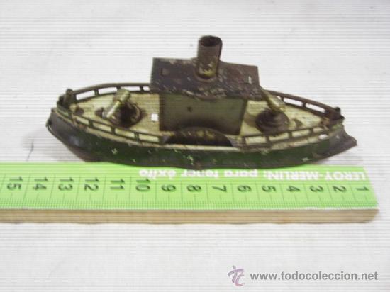 Juguetes antiguos de hojalata: Barco pequeño muy antiguo. Años 1900 / 1920. Posible Marklin ¿¿??. - Foto 4 - 26598333