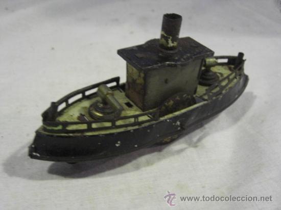 Juguetes antiguos de hojalata: Barco pequeño muy antiguo. Años 1900 / 1920. Posible Marklin ¿¿??. - Foto 11 - 26598333