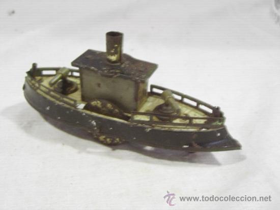 Juguetes antiguos de hojalata: Barco pequeño muy antiguo. Años 1900 / 1920. Posible Marklin ¿¿??. - Foto 12 - 26598333