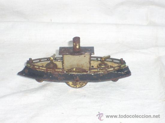 Juguetes antiguos de hojalata: Barco pequeño muy antiguo. Años 1900 / 1920. Posible Marklin ¿¿??. - Foto 15 - 26598333