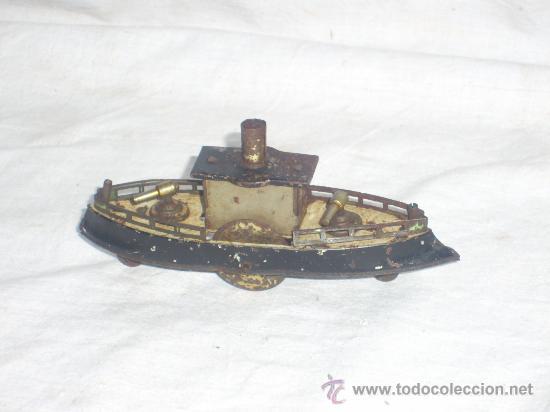 Juguetes antiguos de hojalata: Barco pequeño muy antiguo. Años 1900 / 1920. Posible Marklin ¿¿??. - Foto 16 - 26598333