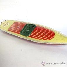 Juguetes antiguos de hojalata: LANCHA RAPIDA O CANOA ANTIGUA DE LATA DE LA MARCA RICO. Lote 28355444