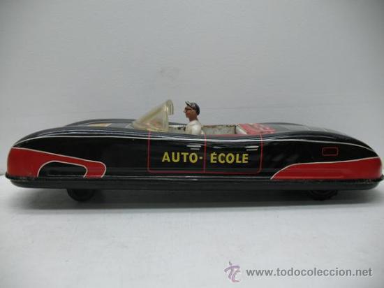 Juguetes antiguos de hojalata: PRECIOSO COCHE FUTURISTA AUTO-ECOLE - Foto 3 - 27854254