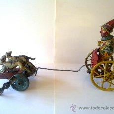 Juguetes antiguos de hojalata: PAYASO CON PERROS DE PAYÁ AÑOS 30. Lote 28637898