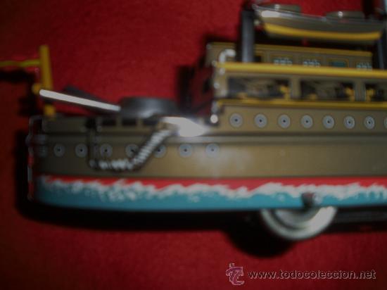Juguetes antiguos de hojalata: BARCO DE GUERRA DE PAYA HOJALATA,REPRODUCCION - Foto 6 - 38740247