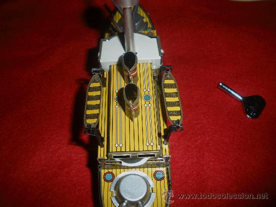 Juguetes antiguos de hojalata: BARCO DE GUERRA DE PAYA HOJALATA,REPRODUCCION - Foto 4 - 38740247