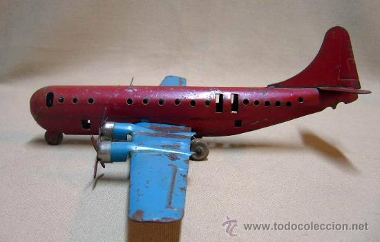 Juguetes antiguos de hojalata: AEROPLANO, AVION PASAJEROS, MARX TOY - USA, CHAPA DE HIERRO, 1950s - Foto 7 - 29355565
