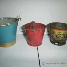 Juguetes antiguos de hojalata - TRES CUBOS EN REGULAR ESTADO. - 30260739