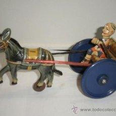 Juguetes antiguos de hojalata: CARRETA CON CABALLO Y PERSONAJE DE GAMA. Lote 32730859