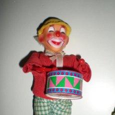 Juguetes antiguos de hojalata: BONITO PAYASO CON TAMBOR DE HOJALATA Y PASTA A RESORTE DE CUERDA FUNCIONANDO AUTOMATA. Lote 33143273