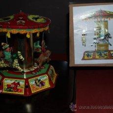 Juguetes antiguos de hojalata: PRECIOSO TIOVIVO DE HOJALATA VER FOTOS ADICIONALES. Lote 47010053