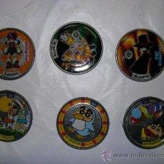 Juguetes antiguos de hojalata: 6 TAZOS / CHAPAS BOLLYCAO. Lote 34847580