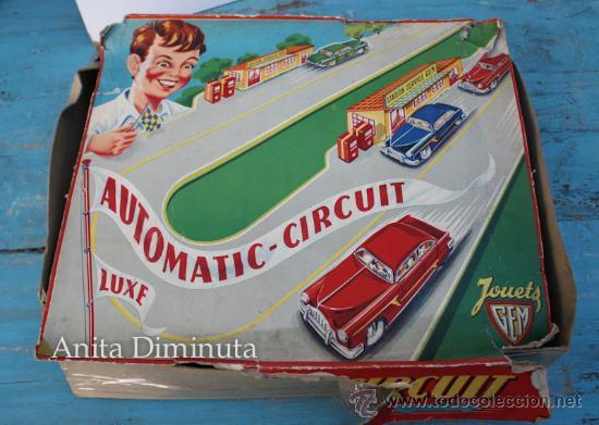 ANTIGUO CIRCUITO EN HOJALATA - CIRCUIT AUTOMATIC LUXE - JOUETS GEM FRANCE - AÑO 1955 - CON 3 COCHES (Juguetes - Juguetes Antiguos de Hojalata Extranjeros)