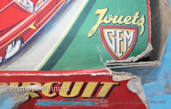Juguetes antiguos de hojalata: ANTIGUO CIRCUITO EN HOJALATA - CIRCUIT AUTOMATIC LUXE - JOUETS GEM FRANCE - AÑO 1955 - CON 3 COCHES - Foto 2 - 36806811