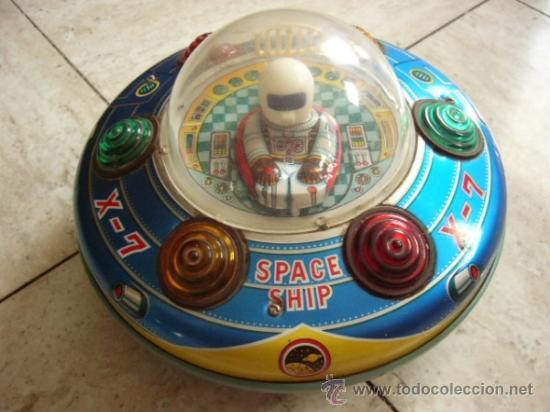 MODERN TOYS. JAPAN. SPACE SHIP X-7. ORIGINAL DE EPOCA. FUNCIONANDO MOTOR Y LUCES. (Juguetes - Juguetes Antiguos de Hojalata Extranjeros)