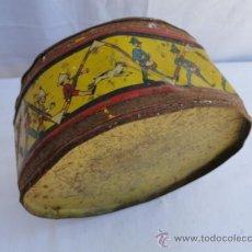 Juguetes antiguos de hojalata: ANTIGUO TAMBOR DE HOJALATA.. Lote 36989676
