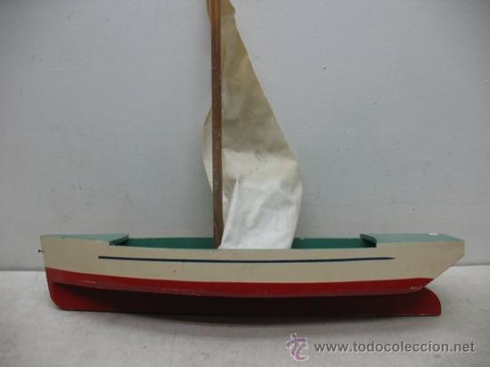 Juguetes antiguos de hojalata: Denia - Antiguo Barco o velero de madera - Foto 2 - 37307875