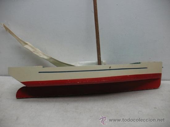Juguetes antiguos de hojalata: Denia - Antiguo Barco o velero de madera - Foto 6 - 37307875