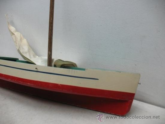 Juguetes antiguos de hojalata: Denia - Antiguo Barco o velero de madera - Foto 7 - 37307875