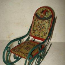 Juguetes antiguos de hojalata: ANTIGUA MECEDORA EN HOJALATA LITOGRAFIADA DE BUEN TAMAÑO DE PICÓ IBI AÑO 1930S.. Lote 37780303