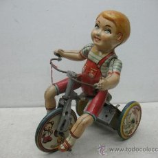 Juguetes antiguos de hojalata - Kiddy Cyclist - Antiguo Triciclo inglés de hojalata litografiada - 38353724