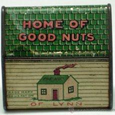 Juguetes antiguos de hojalata: CAJA HUCHA LATA LITOGRAFIADA HOME OF GOOD NUTS OF LYNN MASS USA. Lote 38686755