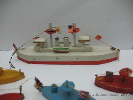 Juguetes antiguos de hojalata: Antiguo juego de barcos de madera japones años 50 - Foto 3 - 39414014