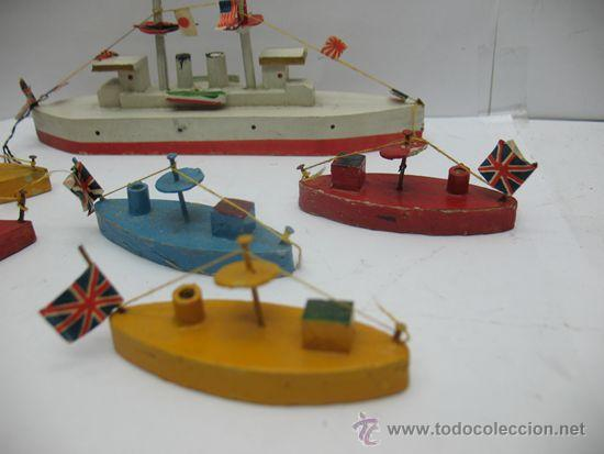 Juguetes antiguos de hojalata: Antiguo juego de barcos de madera japones años 50 - Foto 4 - 39414014
