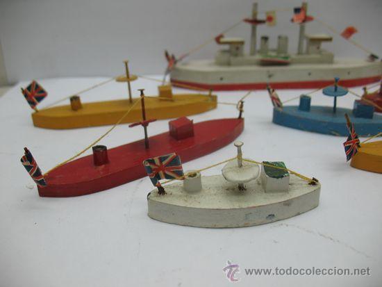 Juguetes antiguos de hojalata: Antiguo juego de barcos de madera japones años 50 - Foto 5 - 39414014