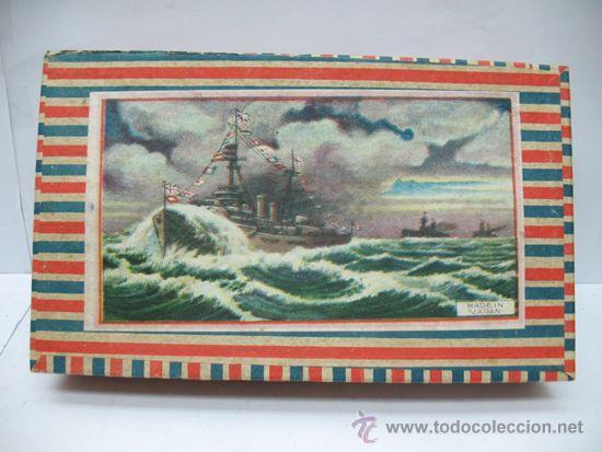 Juguetes antiguos de hojalata: Antiguo juego de barcos de madera japones años 50 - Foto 6 - 39414014