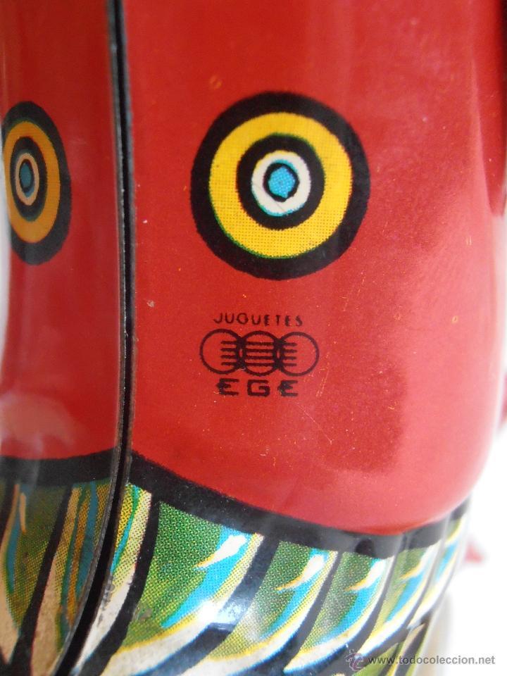 Juguetes antiguos de hojalata: PATO TRICICLO A CUERDA HOJALATA EGE CICLISTA AÑOS 70 IBI ALICANTE - Foto 4 - 40671687