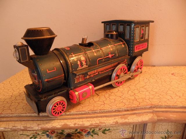 Juguetes antiguos de hojalata: Locomotora o Tren Western de Modern Toys Made in Japan - Foto 2 - 41746791